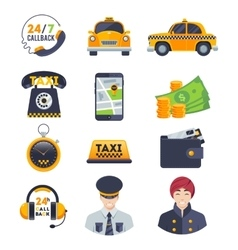 Flat color taxi icons set with order driver vector