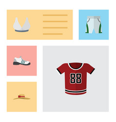 Flat icon garment set of sneakers elegant vector