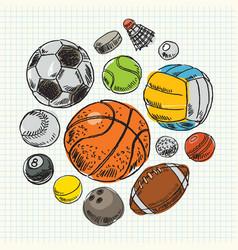 Freehand drawing sport balls vector