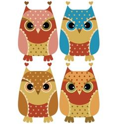 Funny cartoon owls vector image vector image