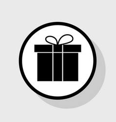 Gift box sign flat black icon in white vector