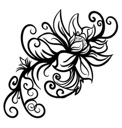 hand drawn stylized sketch flowers isolated vector image