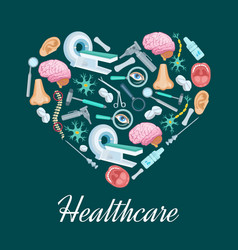 healthcare medicine heart poster vector image vector image