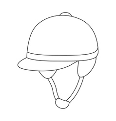 Jockey s helmet icon in outline style isolated on vector