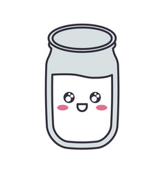 Kawaii milk glass icon vector