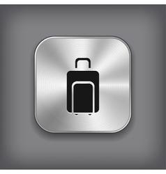 Luggage icon - metal app button vector image