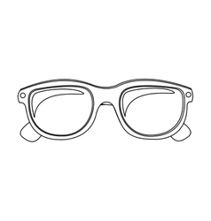monochrome contour with oval glasses lens vector image