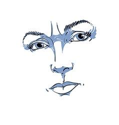 Monochrome hand-drawn portrait of white-skin vector image vector image