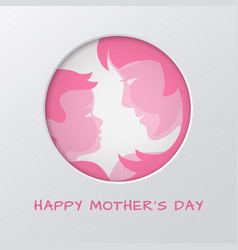 Mothers day greeting card with cut paper circle vector