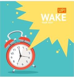 red wakeup clock card Flat Design vector image vector image