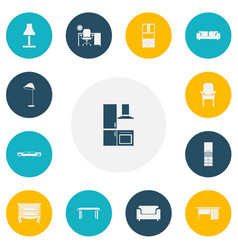 set of 13 editable furniture icons includes vector image vector image