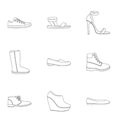 Shoes set icons in outline style big collection vector