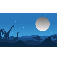 Silhouette of dinosaur with moon vector