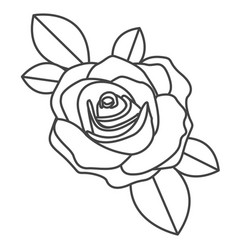 Silhouette sketch flowered rose with leaves vector