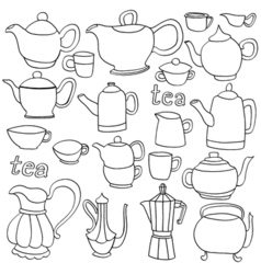 Sketches of tea and coffee objects vector image
