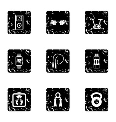 Sport icons set grunge style vector