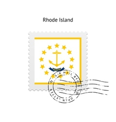 State of rhode island flag postage stamp vector