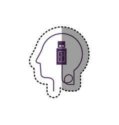 sticker silhouette profile human head with usb vector image