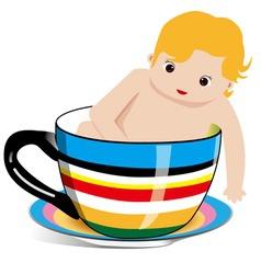 tea cup baby vector image vector image
