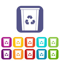 Trash bin with recycle symbol icons set flat vector