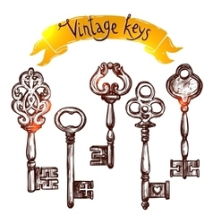Vintage sketch keys vector
