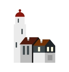 White church netherlands icon flat style vector