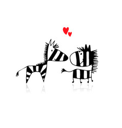 zebra couple in love sketch for your design vector image vector image