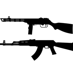 silhouettes of soviet machine guns vector image