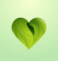 Green leaves form heart shaped icon logo vector
