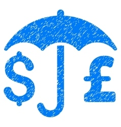 Pound and dollar financial umbrella grainy texture vector