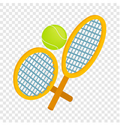 Tennis rackets with ball isometric icon vector