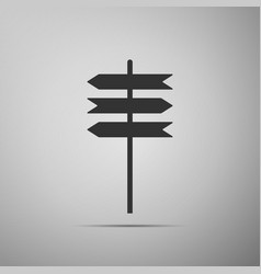 Road sign icon signpost icon on grey background vector