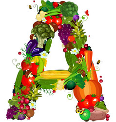 LETTERS vegetabless A vector image