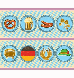 Vintage beer elements with oktoberfest symbol on vector