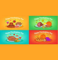thanksgiving banner set horizontal cartoon style vector image