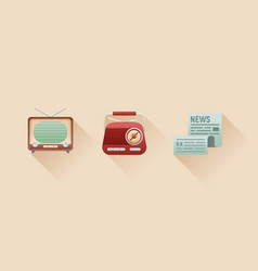 Stylish retro flat icons of vintage media objects vector