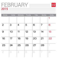 2015 February calendar page vector image vector image