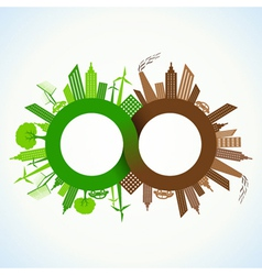 Eco and polluted city around infinity symbol vector