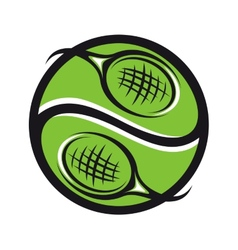 Tennis ball with rackets icon vector