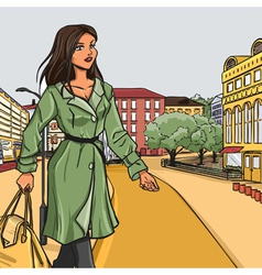 Girl in green raincoat after shopping vector