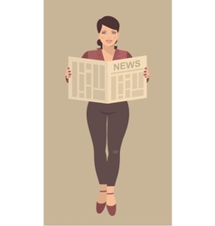 Young business woman reading a newspaper in their vector
