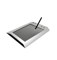 Digital graphic tablet with pen on white backgroun vector