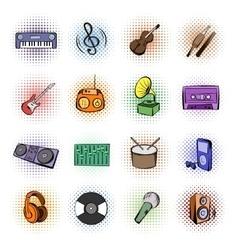Music comics icons vector