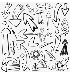 Arrows doodles set vector
