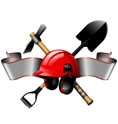 Red helmet with tools and ribbon vector