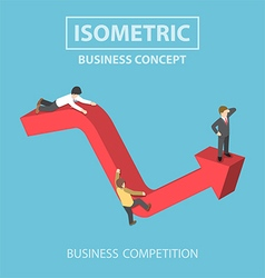 Isometric businessman climbs up to the top of grap vector