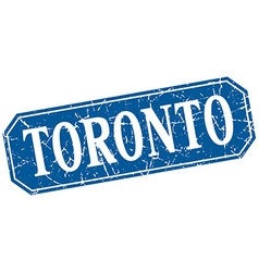 Toronto blue square grunge retro style sign vector