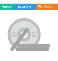 Flat design icon of barbell disks vector