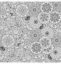 Various floral circular shapes in seamless pattern vector image