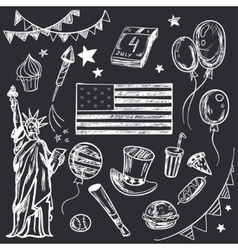 Happy memorial day american themed doodle set vector
